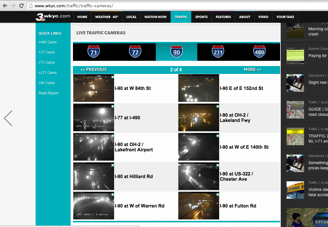 WKYC.com Highway Cams Navigation (Fall 2014)